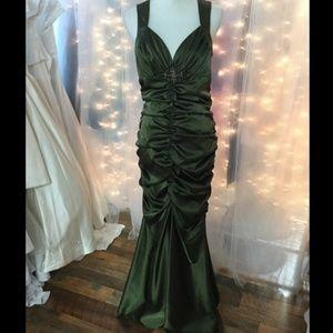 Olive Green Satin Mermaid Dress NWT
